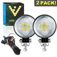 "Voltage Automotive LED 3"" Inch Round Fog Light 6000K Spot Light With Fisheye Lens"