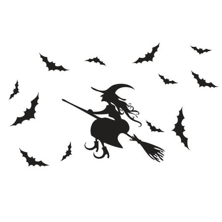 Live Halloween Wallpapers For Iphone (KABOER Carved Witch Children's Room Background Decorative Painting Glass Sticker Halloween)