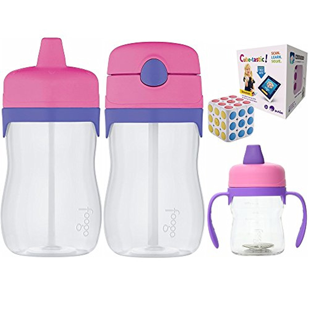 Thermos Sippy Cup & Straw Drink Bottle Set for Toddler w  Brain Teasers Toy by PUTAO