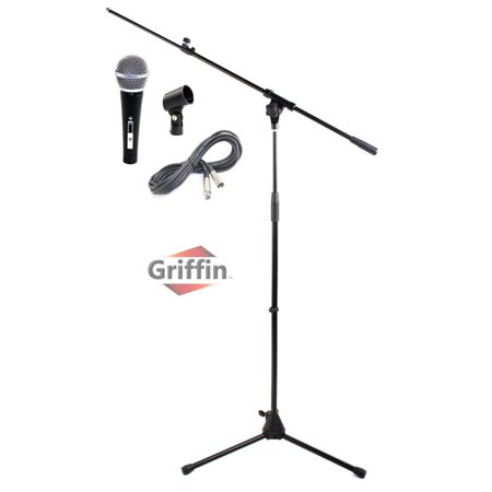 Microphone Boom Stand Package by Griffin Telescoping Arm Mount & Tripod Holder Cardioid Dynamic Handheld Vocal Microphone 2 FT XLR Mic Cable Live Sound Stage Gear For Recording Studio or PA DJ