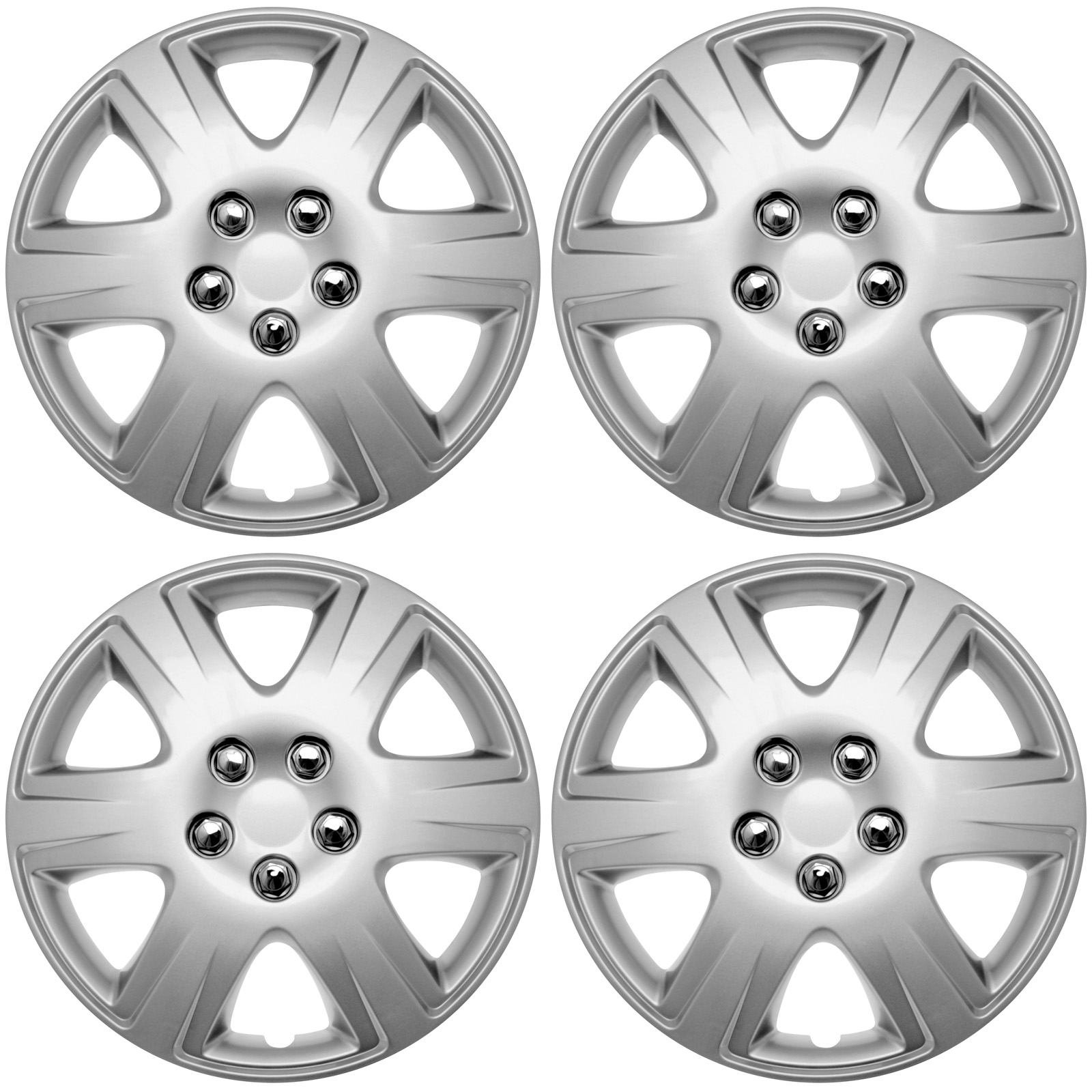"""Cover Trend (Set of 4) SILVER Aftermarket Hub Caps fits Toyota Corolla, 15"""" Full Wheel Covers (STEEL CLIPS)  for a Tight & Secure Fit"""