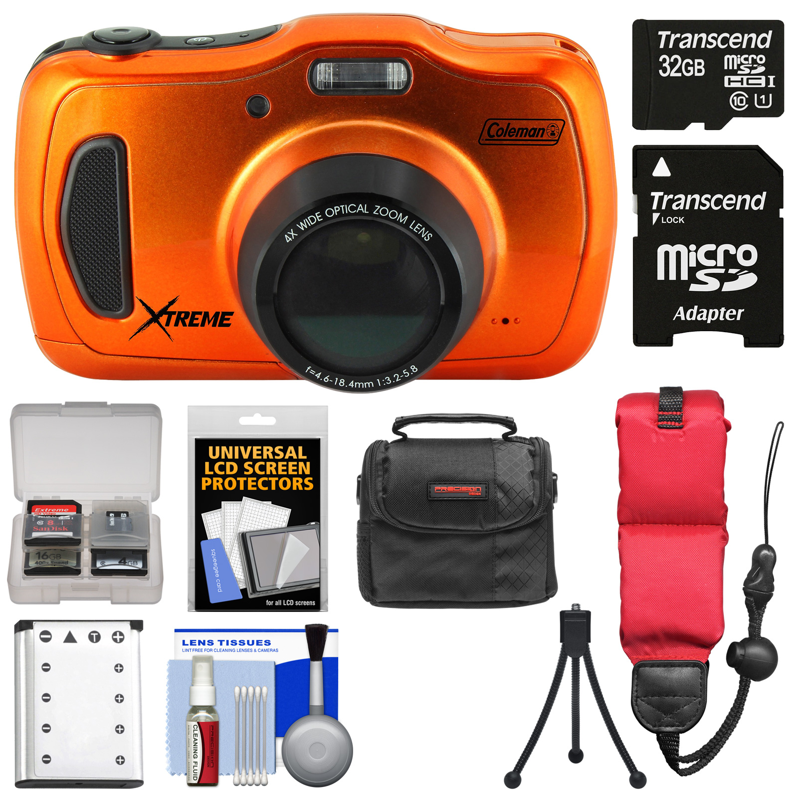 Coleman Xtreme4 C30WPZ Waterproof HD Digital Camera (Orange) with 32GB Card + Battery + Case + Tripod + Floating Strap +... by Coleman