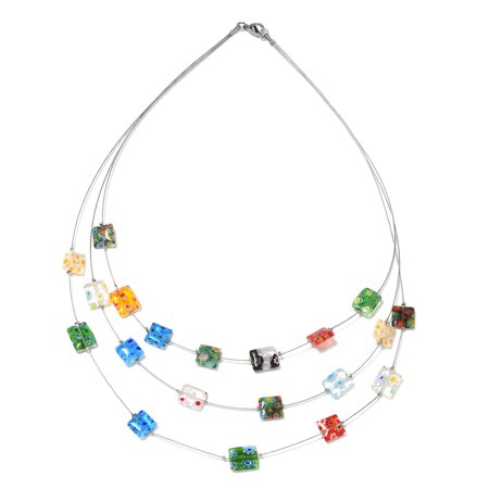 Multi Color Murano Millefiori Glass Bead Strand Necklace Stainless Steel Gift Jewelry for Women Size 18