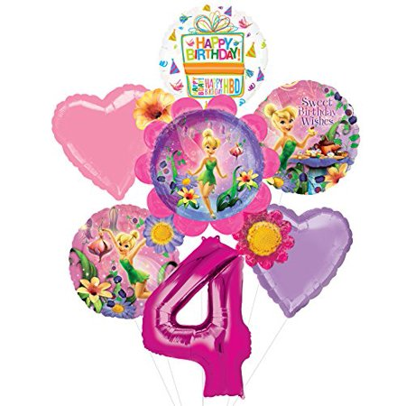 Tinkerbell Birthday Theme (Tinkerbell 4th Birthday Party Supplies Flower Cluster Balloon Bouquet)