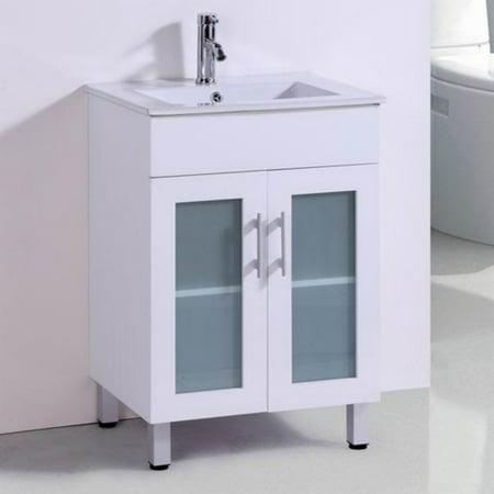 Ceramic Bathroom Vanity - Belvedere 24 in. Modern Single Bathroom Vanity with Ceramic Countertop