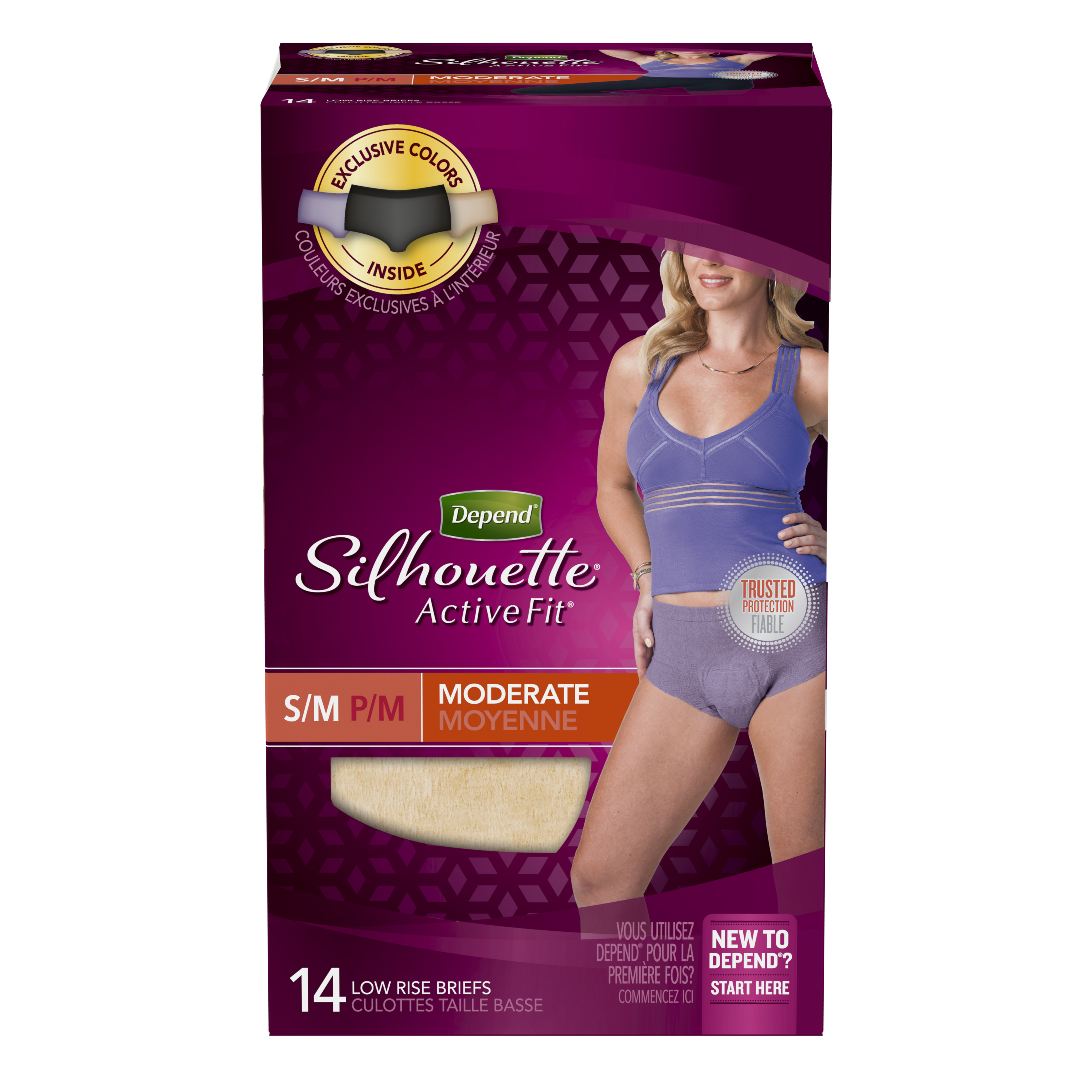 Depend Silhouette Active Fit Incontinence Underwear for Women, Moderate Absorbency, S/M, 14 Count