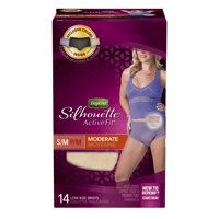 Depend Silhouette Active Fit Incontinence Underwear Women, Moderate Absorbency, S/M, 14ct