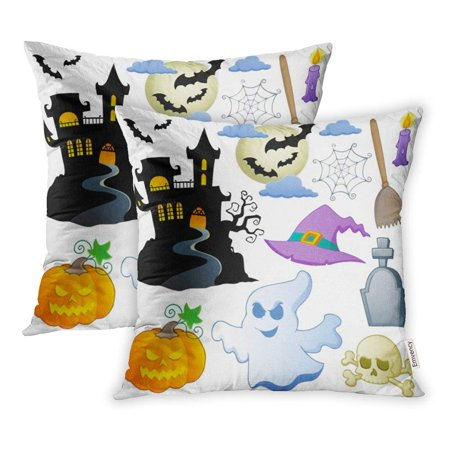 ARHOME House Halloween Collection Cartoon Scary Clipart Gravestone Skull Autumn Bat Pillowcase Cushion Cover 20x20 inch, Set of 2