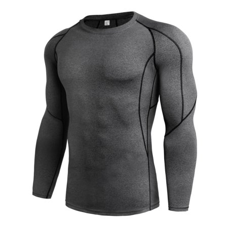 Men's Long Sleeve Compression Base Layer T-shirt Tight Activewear Tops