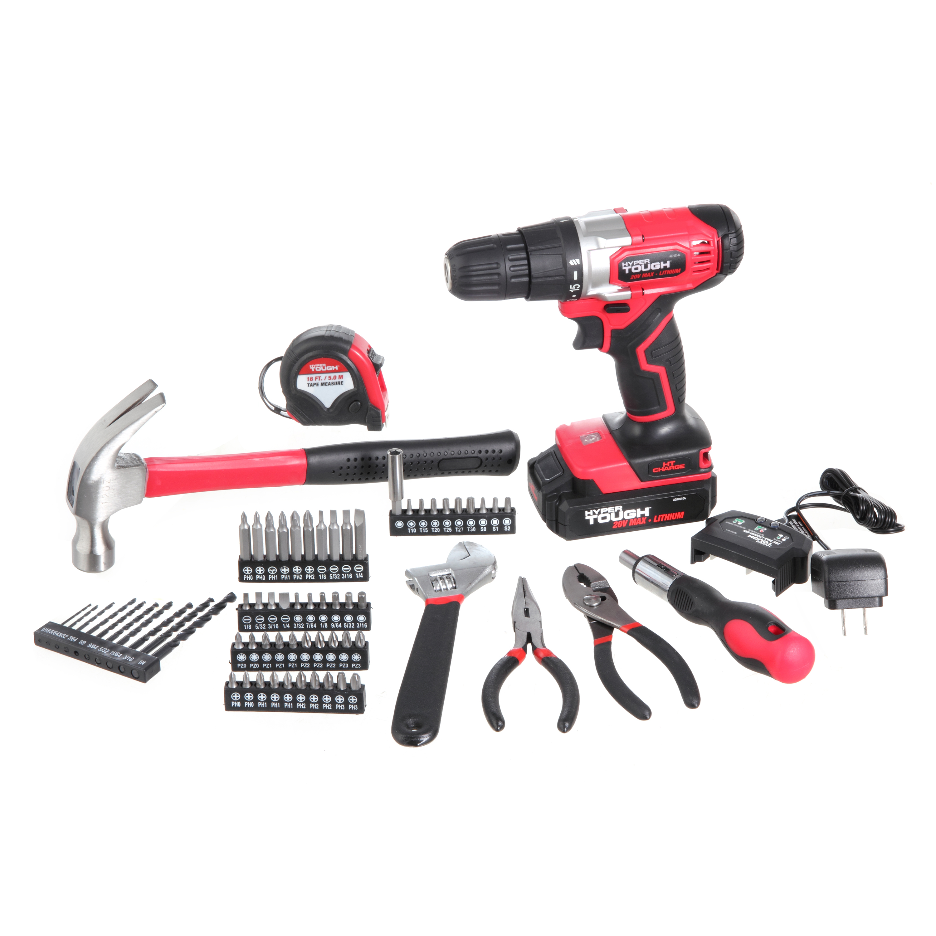 Hyper Tough AQ90082G HT CHARGE 20V MAX Lithium Ion Drill, 70 Piece Project Kit