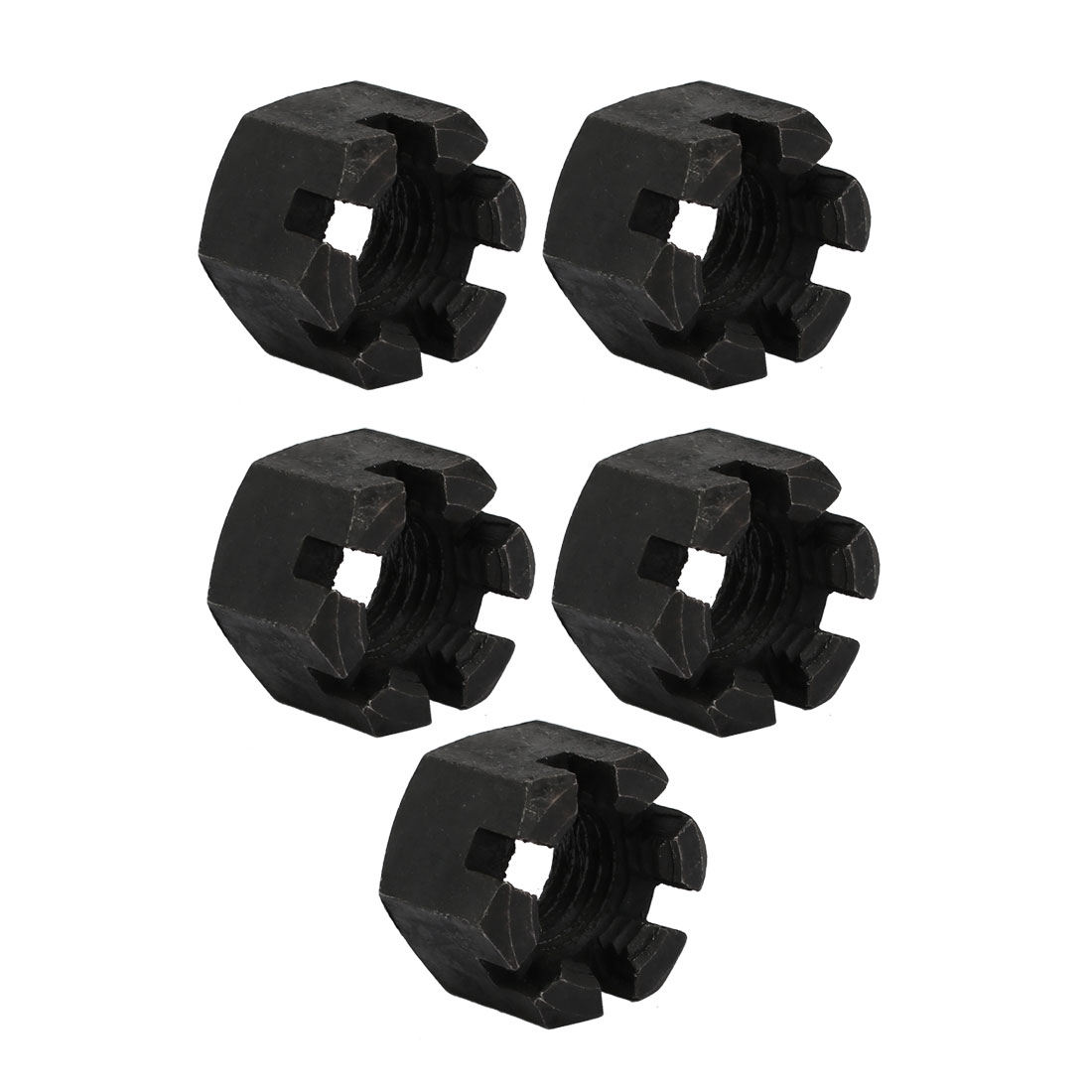 5pcs M20x2.5mm Carbon Steel Grade 8 Hexagon Slotted Castle Nut Black