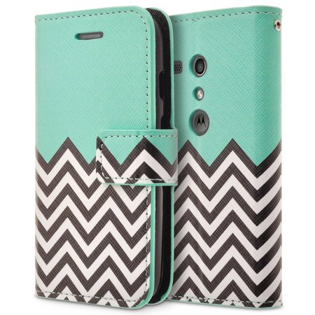 MOTO G (1st Gen) XT1032 Case, RANZ Stylish Design Deluxe PU Leather Folio Flip Book Wallet Pouch Case Cover (Teal Waves) For Motorola/ Google Motorola MOTO G (1st Gen) XT1032