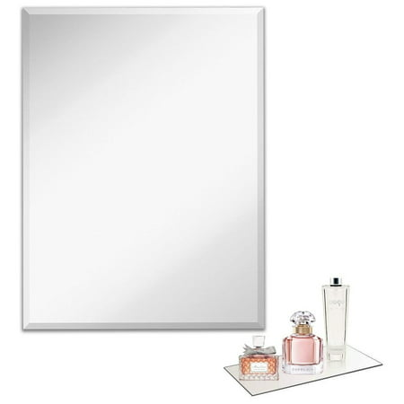 light in the dark silvertone large rectangular beveled wall-mounted mirror - silver - 24 x 36 inch