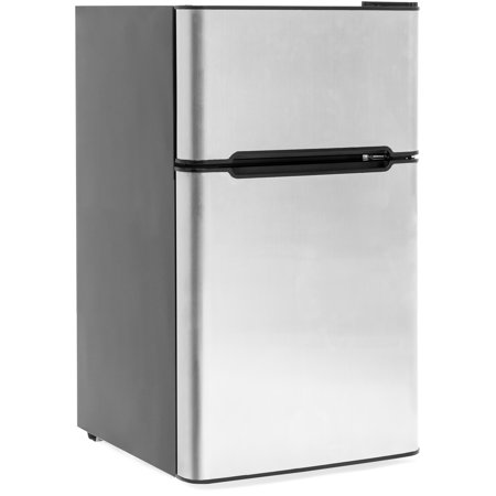 Best Choice Products 34in Double Door Stainless Steel Compact Mini Refrigerator for Home, Office, Dorm w/ 3.2 Cubic Feet Capacity, Freezer, Ice Tray, Scraper -