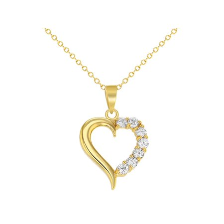 18k Gold Plated Love Heart Pendant Necklace Clear Girls Ladies 19
