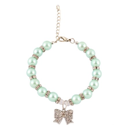 - Rhinestone Mosaic Metal Round Beads Bowknot Pendent Decor Pet Necklace Blue
