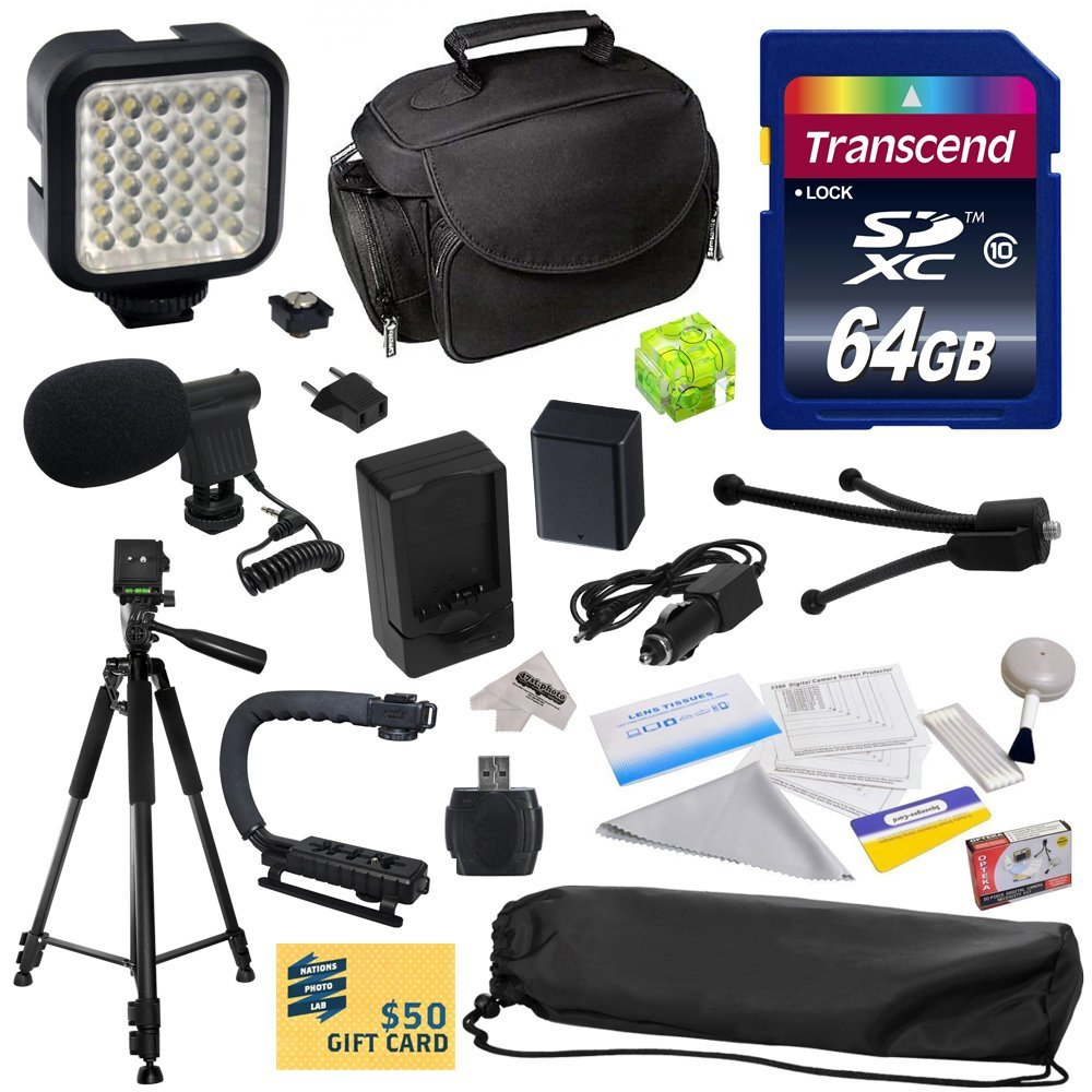 Advanced Kit for Canon PowerShot G1X G16 G15 SX50HS with 64GB Memory Card, NB-10L Battery Pack, Charger, Case, Tripod, Grip Handle, LED Light, Microphone, Spirit Level, Cleaning Kit, $50 Gift Card