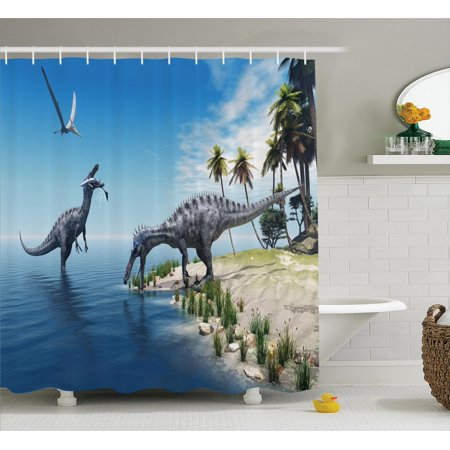 Jurassic Decor Shower Curtain Set, Large Fish Is Caught By A Suchomimus Dinosaur Flying Pterosaur