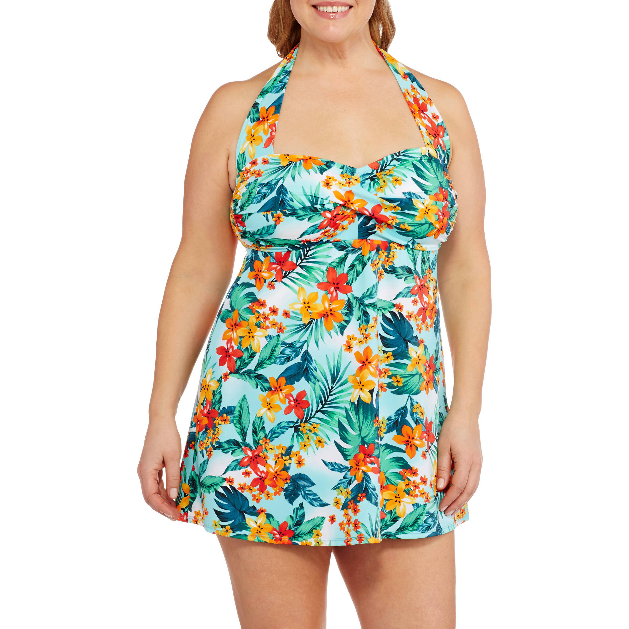 Suddenly Slim By Catalina Women's Plus-Size Retro Shirred Halter Slimming Swimdress