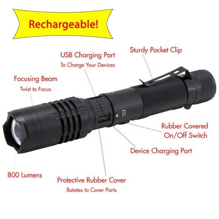 Promier Rechargeable 800 Lumen Flashlight and Powerbank to charge your phone / Much Higher quality than other rechargeable