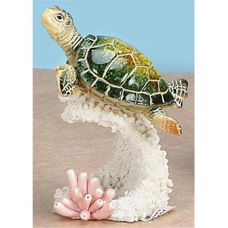 StealStreet SS-UG-YXC-905 Green Sea Turtle Swimming on Pink Colored Coral Statue, 5