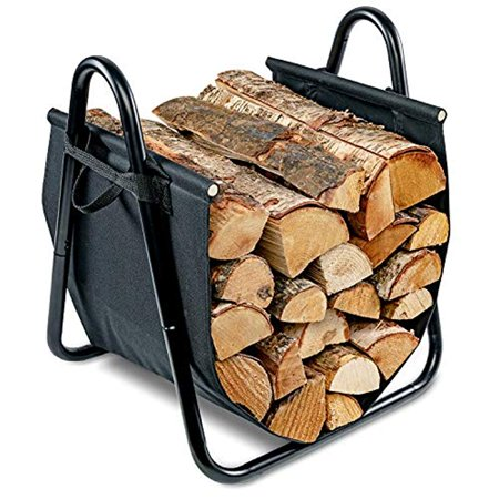 Firewood Log Holder and Carrier | Large 2-in-1 Indoor/Outdoor Firewood Basket w/ Standing Steel Frame Rack & Canvas Tote w/ Handles for Loading & Carrying Kindling | Great for Fireplace or Wood Stove ()
