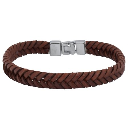 Thin Brown Leather Braided Clasp Bracelet Brown Leather Cord Bracelet