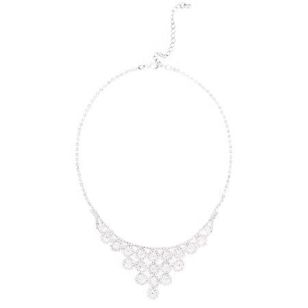 - Premium Silver Tone Clear Rhinestone Crystal Statement Fashion Necklace