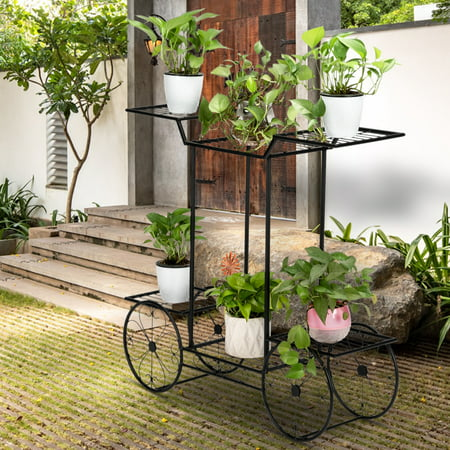 Image of Clearance! Indoor Plant Stand Holder, Paint Car Shape Metal Plant Stand, Iron Art Flower Pot Holder, Corner Plant Stand Rack Display, Home, Garden, Patio, Outdoor Plant Stand, Black W8166