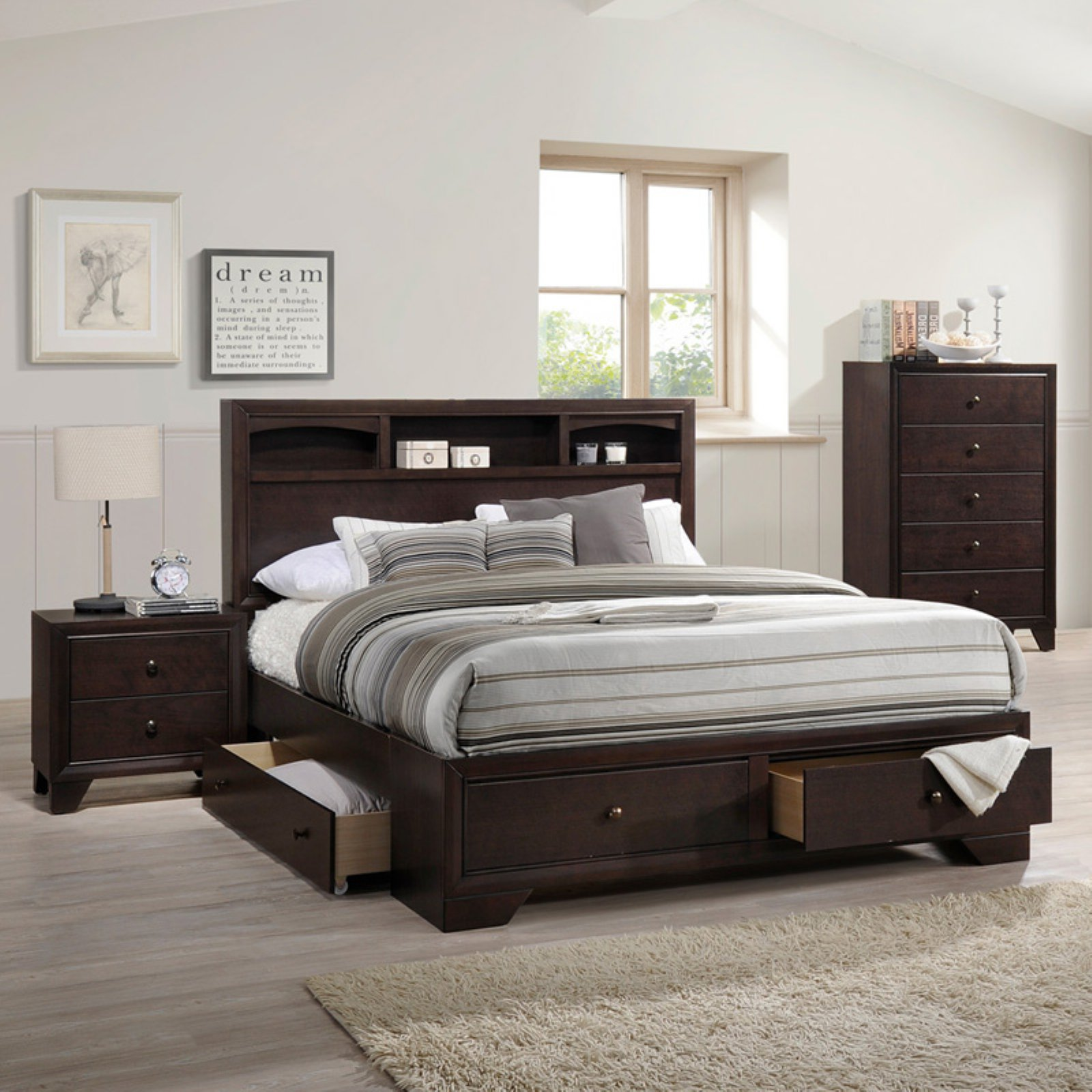 ACME Madison II Queen Bed with Storage in Espresso, Multiple Sizes