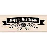 "Inkadinkado Mounted Rubber Stamp 1.5""X4""-Happy Birthday Banner"