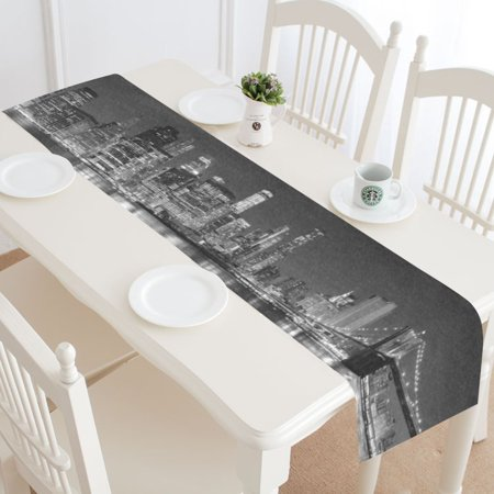 MYPOP New York Skyline Table Runner Home Decor 14x72 Inch, Mondern Cityscapes Table Cloth Runner for Wedding Party Banquet - New York Wire Cloths