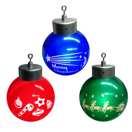 Mr. Christmas Motion Activated 3 LED Light Up Ornaments Red Blue Green Decor - Light Blue Christmas Ornaments