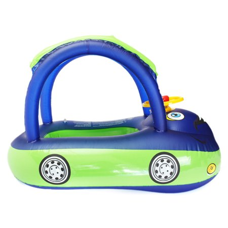 Sunshade Inflatable Swimming Pool Baby Kids Float Seat Boat Car Swim Ring Steering Wheel Summer Toys Outdoor Play (Random Blue Color) - image 10 of 12