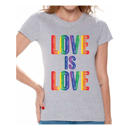 Awkward Styles Love is Love Shirt for Women LGBTQ Shirts Gay Pride Gifts for Her Women's Love Is Love Graphic T-shirt Tops Love Graphic T-shirt Tops
