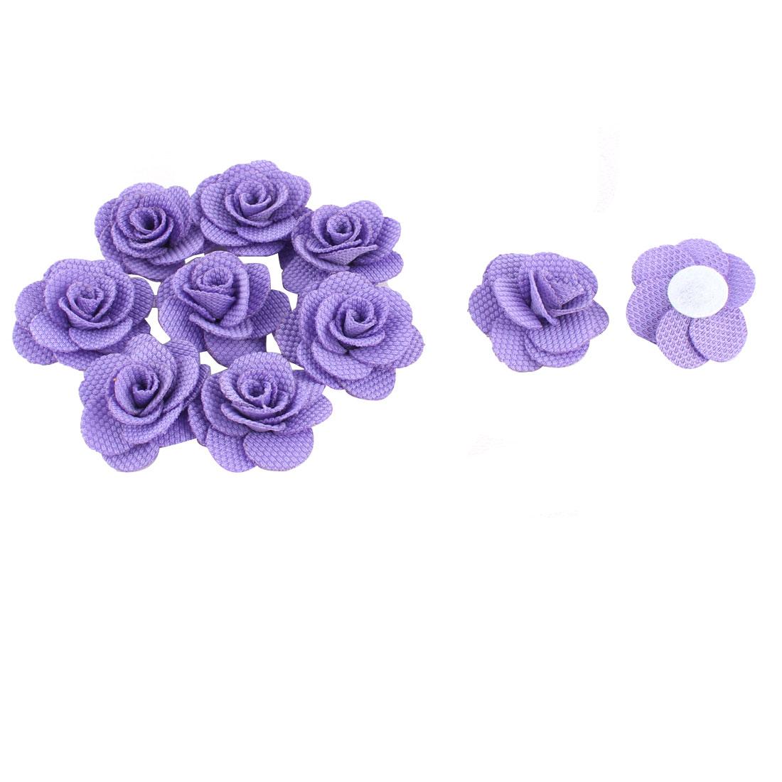 Fabric Camellia Flower Craft DIY Wedding Ornament Ribbon Flowers Purple 10pcs