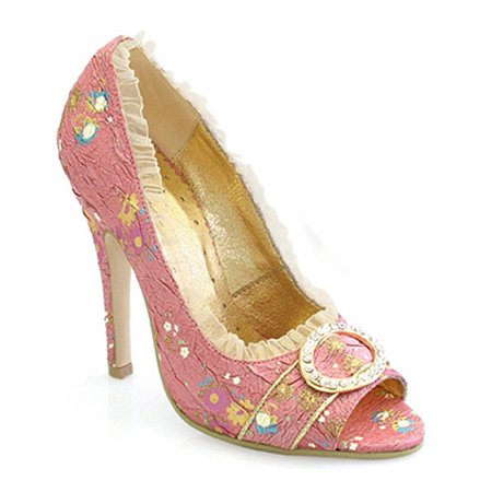 Womens Victorian Inspired Pumps 4 1/2 Inch Heels Open Toe Decorative