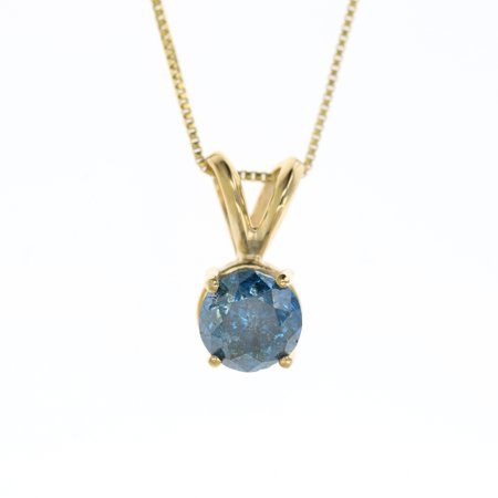 Vir Jewels 1 cttw Blue Diamond Solitaire Pendant Necklace 14K Yellow Gold