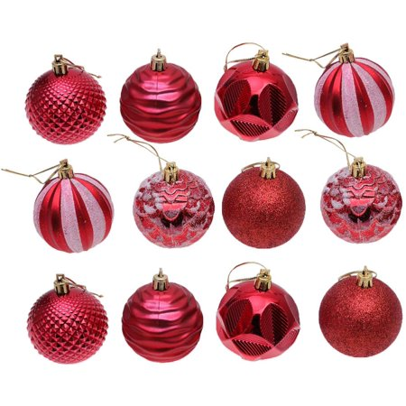 GLiving 12 Pcs Christmas Ball Plastic Multicolor Tree Balls Christmas Ball Ornaments Gift for Family Kids ()