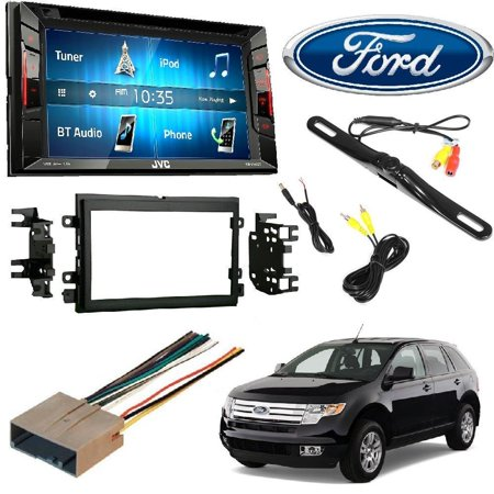 JVC KW-V140BT Double Din BT In-Dash DVD/CD/AM/FM Stereo + DOUBLE DIN STEREO INSTALL DASH KIT W/ WIRE HARNESS FOR FORD LINCOLN MERCURY CARS + Rear View Camera
