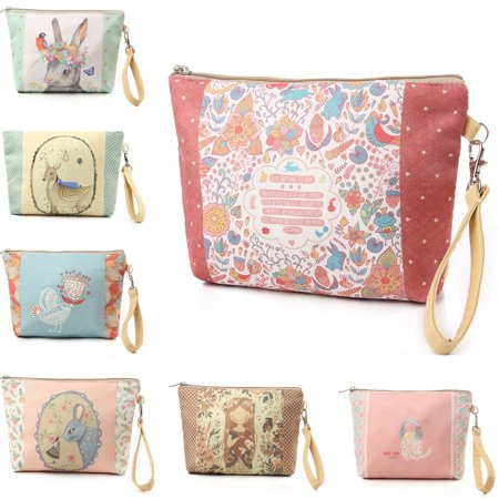 - Cute Fashion Canvas Coin Cosmetic Case Makeup Phone Bag Pouch Purse Bag Zipper Organizer