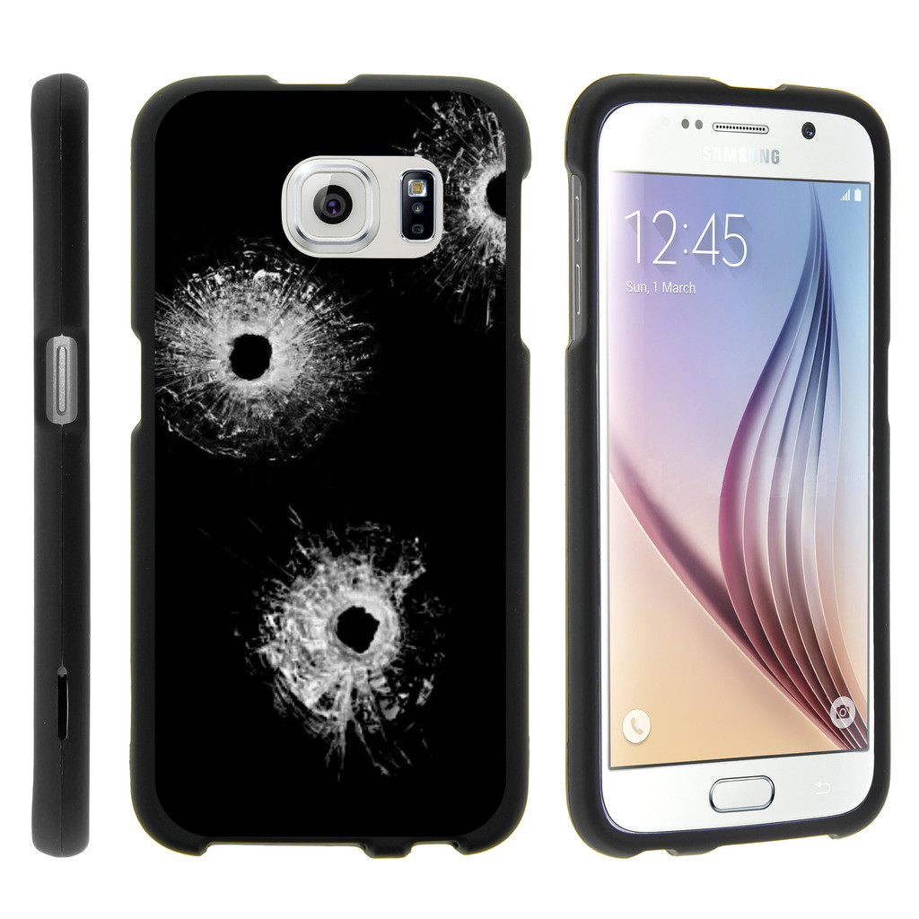 Samsung Galaxy S6 Edge G925, [SNAP SHELL][Matte Black] 1 Piece Snap On Rubberized Hard Plastic Cell Phone Case with Exclusive Art - Bullet Holes