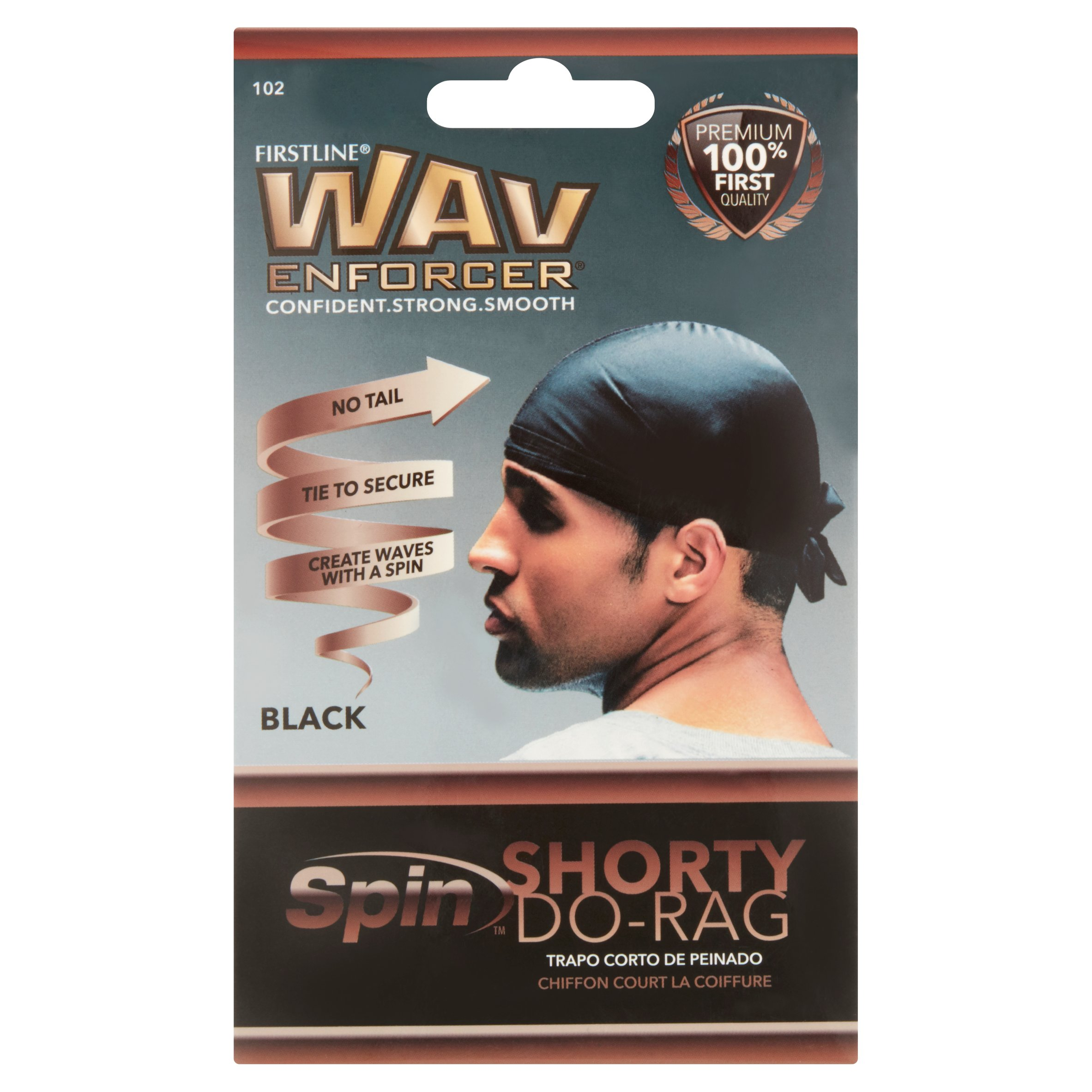 (4 Pack) Wavenforcer Shorty Do-Rag, Black