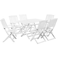 Outdoor Dining Set 7 Pieces Solid Acacia Wood White