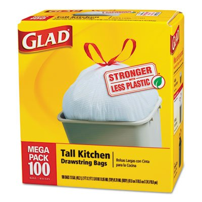 4 PACKS : Glad Tall Kitchen Drawstring Bags, 24 X 27 3/8, 13Gal, .95Mil, White, 100/Box