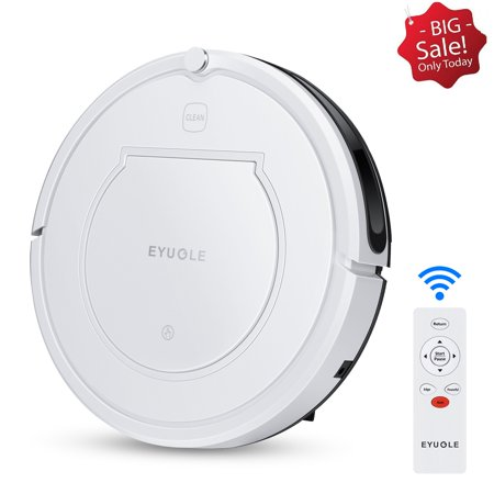 Eyugle KK320 Robot Vacuum Cleaner Sweeping and Mopping Robotic Vacuum Cleaning Dust and Pet Hair, 900Pa Strong Suction and App Control, Route Planning on Hard Floor,