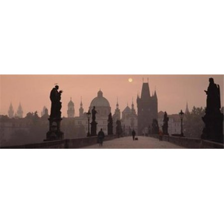 Charles Bridge at dusk with the Church of St. Francis in the background  Old Town Bridge Tower  Prague  Czech Republic Poster Print by  - 36 x 12 - image 1 of 1