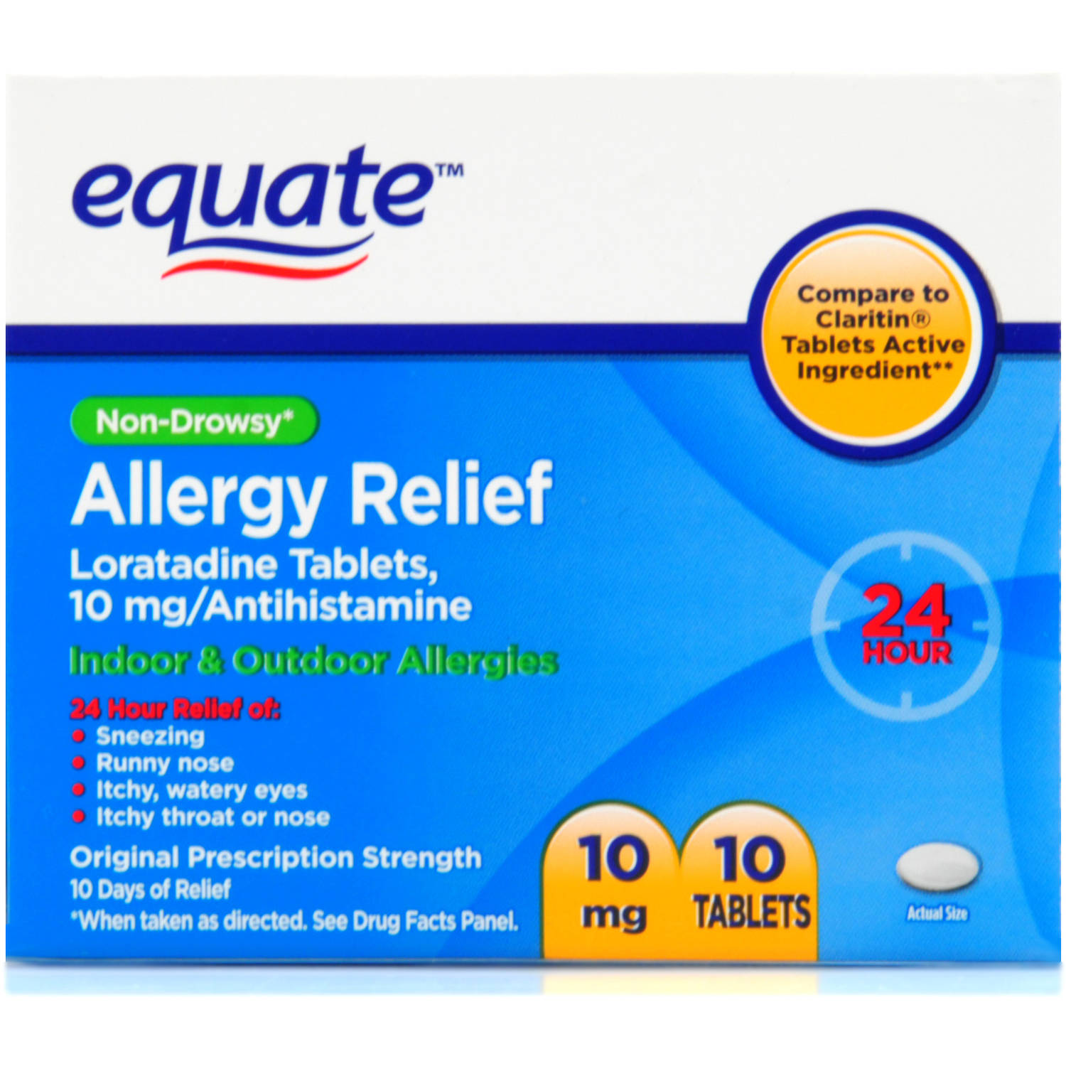 Equate Non-Drowsy 24 hour Allergy Relief, 10ct