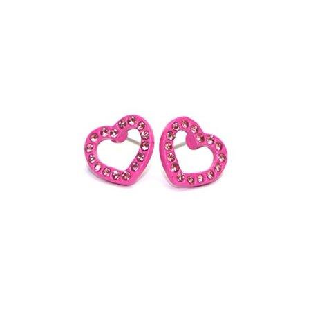 Surgical Stainless Steel Studs Earrings Little Girl - Women - Grils Round Heart Shape Cubic Zirconia Hypoallergenic Earrings Heart Earrings for Girls (PINK)