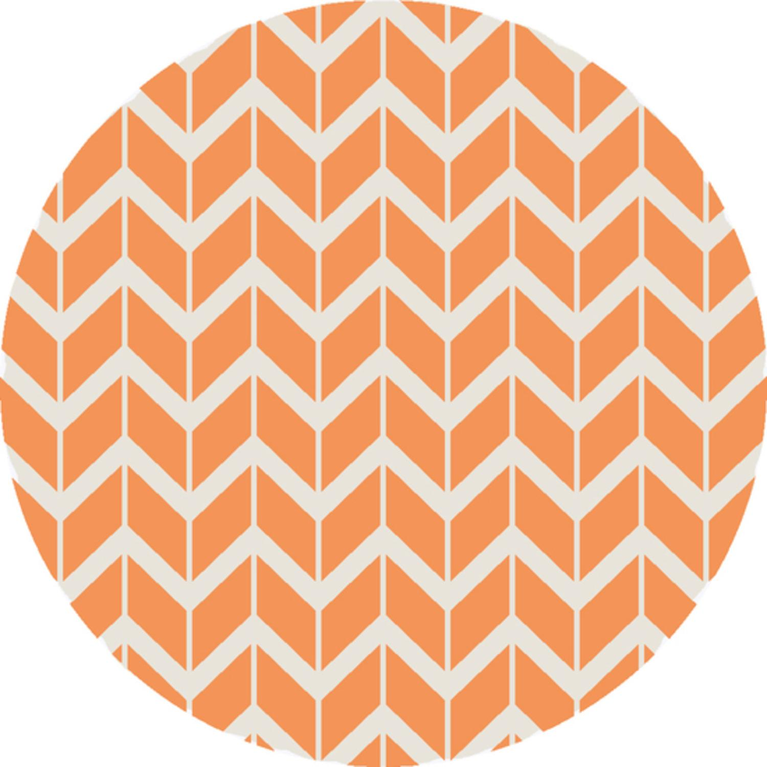 8' Chevron Pathway Orange and White Hand Woven Wool Round Area Throw Rug